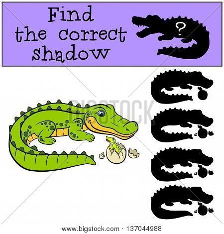 Children Games: Find The Correct Shadow. Mother Alligator With Her Little Cute Baby Alligator.