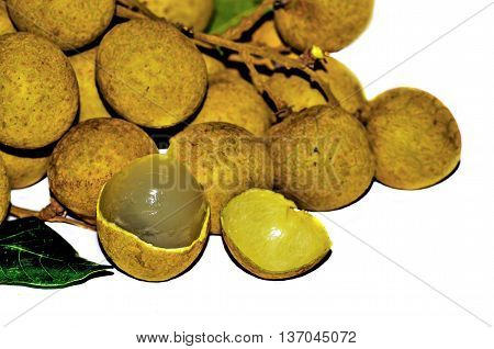 bunch of Longan and Peel show the white meat