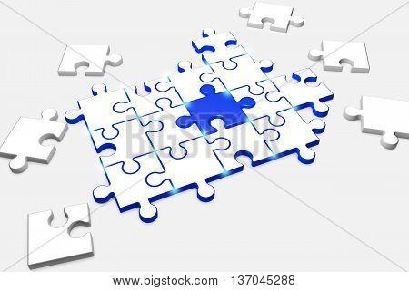 3d illustration composite puzzle symbolizes Team spirit