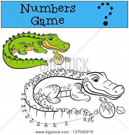 Educational Games For Kids: Numbers Game With Contour. Mother Alligator With Her Little Cute Baby Al