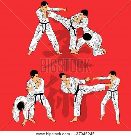 set of fighters in a kimono in the jiu-jitsu training