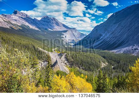 Canadian Rockies, Banff National Park. Scenic magnificent canyon on sunny autumn day. Canyoning excellent highway passes