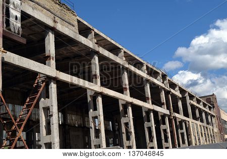 KIEV, UKRAINE - JUL 4, 2016: Abandoned industrial complex.July 4, 2016 Kiev, Ukraine