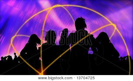 Animation showing group of people dancing in high definition