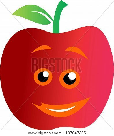 stock logo abstract fruit red apple smile