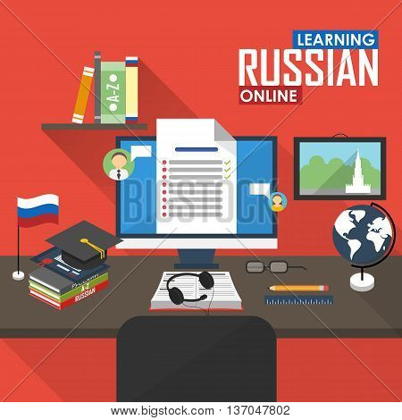 Flat design vector illustration concept of learning Russian language online, distance education and online training courses. Russian online.