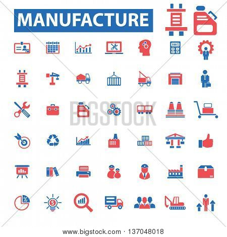 manufacture, industrial business, factory, industry, meeting, logistics, plant, engineering, transportation, warehouse, enterprise, office, management concept  icons, signs vector set