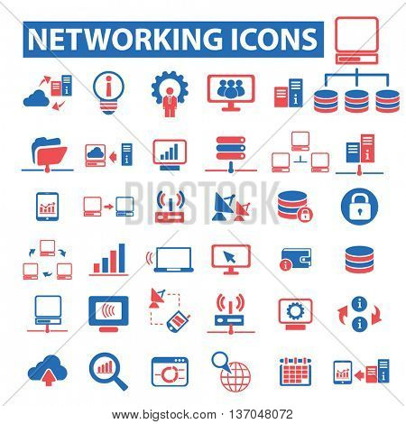 computer network, connection, communication, link, internet, online, phone, hosting, system administration, router, laptop, tower, antenna, equipment, lan, broadcasting, technology icons, signs vector