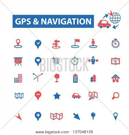 gps navigation, location, map, direction, route, car, logistics, travel, positioning, compass, cartography, road, journey, searching icons, signs vector