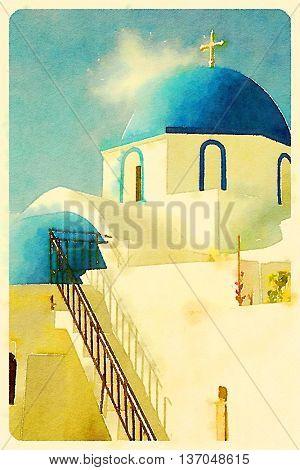 Digital watercolour of greek church in a blue sky