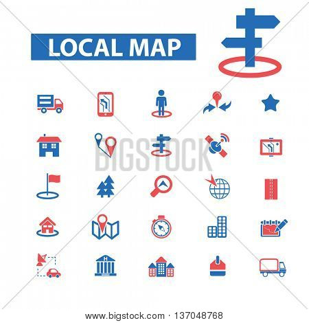 location, map, direction, route, car navigation, logistics, travel, positioning, compass, cartography, road, journey, searching icons, signs vector concept