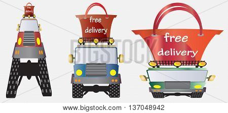 Free delivery word on shopping bag top of Off road truck