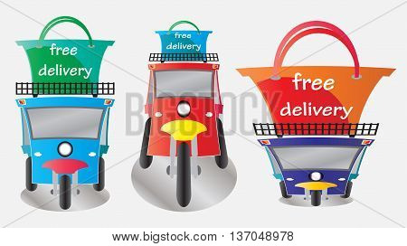 Free delivery word on shopping bag top of tuktuk taxi