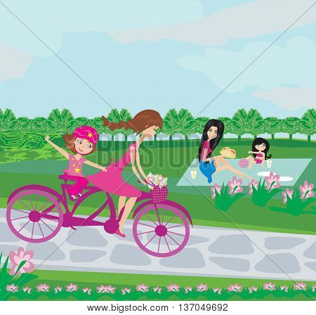 family relaxing in the park on a summer day , vector illustration