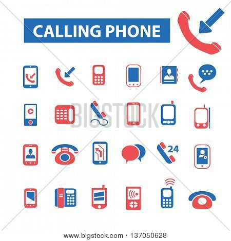 calling mobile phone, telephone, cell, smartphone, technology, gadget, communicator, connection, contact, wireless, message, call, service, chat icons, signs vector