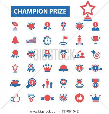 Champion prize icons: awards, trophy, certificate, winner, ceremony, ribbon, medal, win, success, victory, prize, competition, medallion, achievement, cup. Vector sign illustration icons