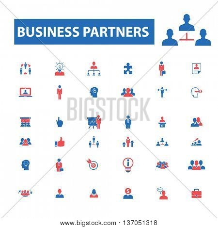 business partners, partnership, team, management, community, workforce, human resources, user, leader, social media, global communication, person, meeting, discussion, employee icons, signs vector