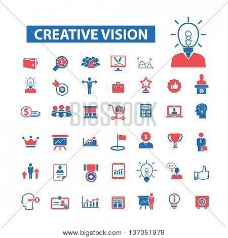 Creative vision icons: marketing, strategy, advertising, business, management, idea, creator, campaign, plan, media, development, brainstorm, affilate, design, research, consumer. Vector illustration