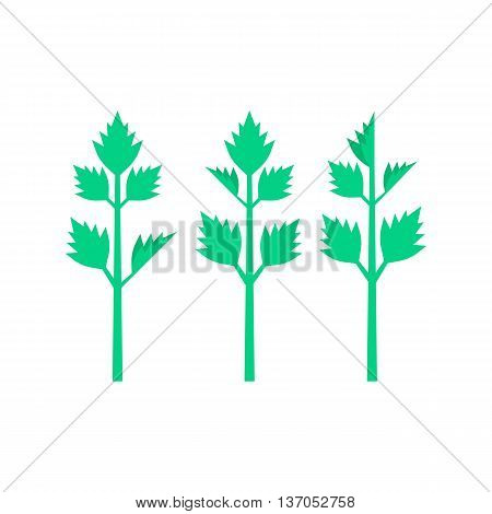 celery leaves on white background. concept of spring culinary, greenery, gourmet cuisine, vegetative smoothie, nourishment, invalid food, balanced meals. flat style modern design vector illustration