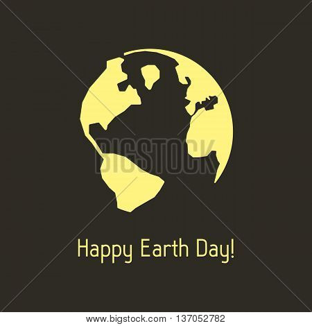 happy earth day with yellow outline planet. concept of travel, geography, postcard, nature pollution, global warming, ecosystem, ecological harmony. flat style modern design vector illustration