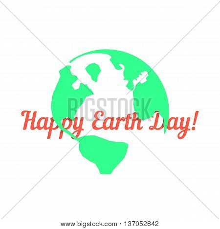 green outline planet with red inscription behind. concept of travel, geography, postcard, nature pollution, global warming, ecosystem, ecological harmony. flat style modern design vector illustration