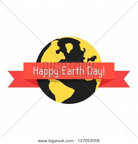 happy earth day with planet and red ribbon. concept of travel, geography, postcard, natural pollution, global warming, ecosystem, ecological harmony. flat style modern design eps10 vector illustration