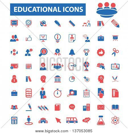 online education, learning, training, business study, teaching, idea, course, science, university, academic, book, exam, college, student, certificate, lesson, degree, school  icons, signs vector