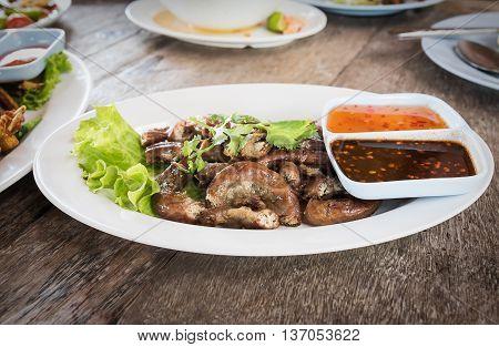Pig's Intestines Grilled Thai Style Food