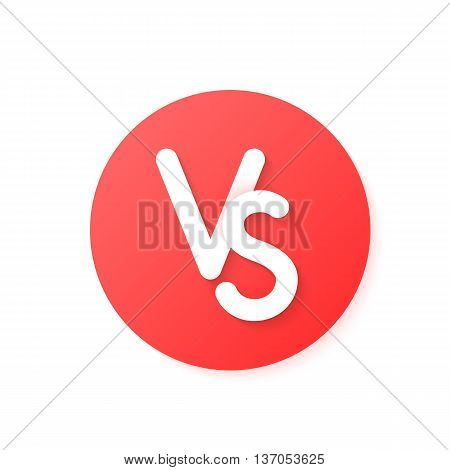 red circle versus emblem like confrontation. concept of opposition, together, standoff, final fighting. isolated on white background. flat style modern logotype design eps10 vector illustration