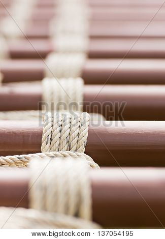 Rope Knot Around Metal Pipe