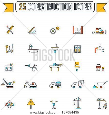 Flat line color engineering and construction site industry graphic tool equipment sign and symbol icon collection set 2 create by vector
