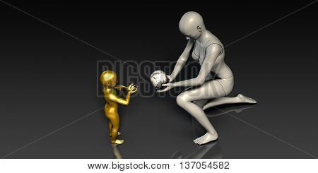 Mother and Son Holding Earth Globe Planet Together 3D Render