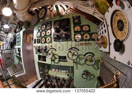 Baltimore, Usa - June 21 2016 - Inside Torsk Ii World War Submarine View Detail Close Up