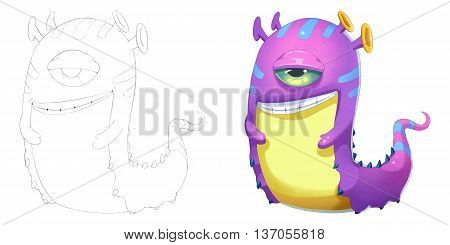 Evil Snail Snake and Earthworm Creature. Coloring Book, Outline Sketch, Monster Mascot Character Design isolated on White Background