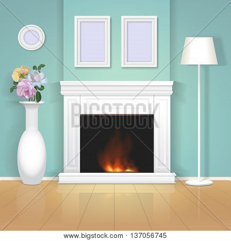 Classic interior wall with fireplace with a vase and framed paintings, Vector realistic illustration.