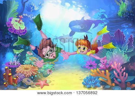 Happy Father's Day in the Sea. Child Story Digital CG Artwork, Concept Illustration, Realistic Cartoon Style Background