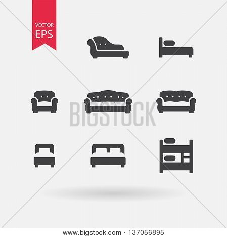 Furniture icons set. Signs of Double bed, Cribe, Bunk Bed Isolated on white background. Vintage Sofa, Armchair, Chesterfield, Couch. Flat design vector elements for you design, web, hotel or hostel.