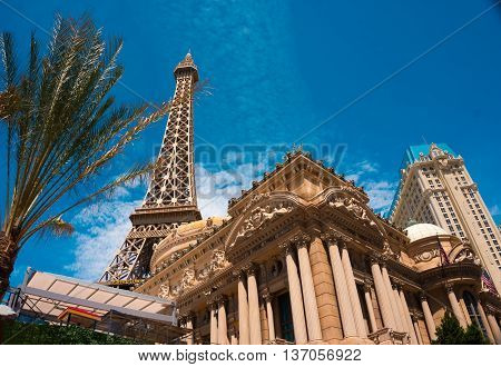 LAS VEGAS, USA - MAY 04, 2016: Replica Eiffel Tower in Las Vegas with clear blue sky on The Strip, the world famous Las Vegas Boulevard South