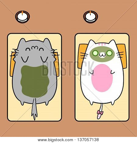 Two Cats' Memories: Doing Mud WRAP SPA Together. Creative Idea, Innovative art, Concept Illustration, Greeting Card, Cartoon Style Artwork