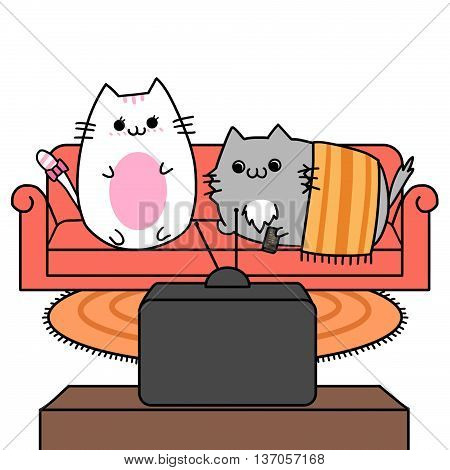 Two Lover Cats' Memories: Watching TV on Sofa Couch Together. Creative Idea, Innovative art, Concept Illustration, Greeting Card, Cartoon Style Artwork