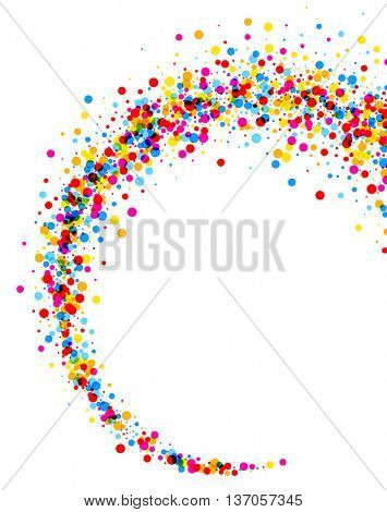 White paper background with whirl of color drops. Vector illustration.