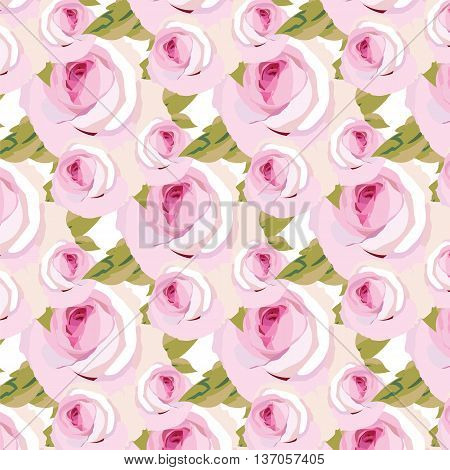 Watercolor pink Rose Flowers pattern. Vintage Watercolor Blooming Roses pattern background. Vector Watercolor Roses for wedding invitation anniversary celebration events texture textile