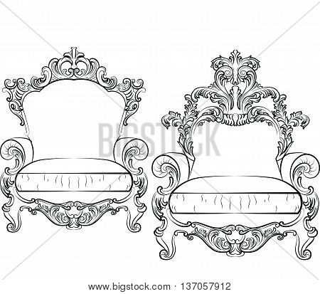 Elegant armchair set with luxurious rich ornaments. Baroque Imperial luxury style furniture. Vector