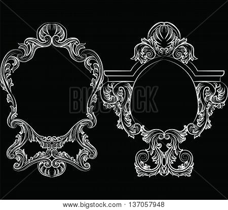 Set of Baroque Vintage Decoration Frames. Flourishes Victorian Royal Rich Ornaments and Frames. Retro Style Collection for Cards Invitations Banner Poster Badges Logotypes Photos Placards