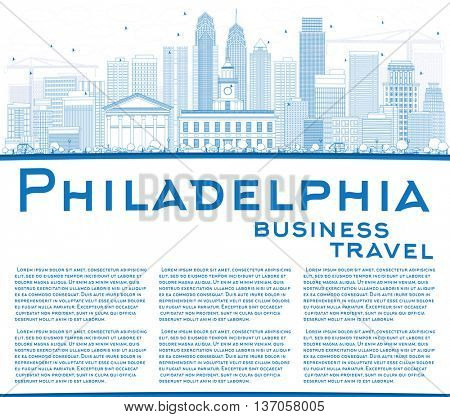 Outline Philadelphia Skyline with Blue Buildings and Copy Space. Business Travel and Tourism Concept with Philadelphia City Buildings. Image for Presentation Banner Placard and Web Site.