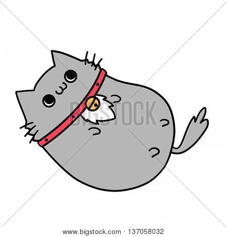 Two Lover Cats' Memories: Playing with its Own Neck Bell. Creative Idea, Innovative art, Concept Illustration, Greeting Card, Cartoon Style Artwork