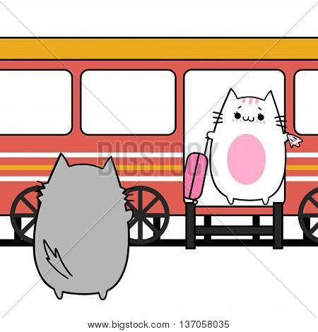 Creative Illustration and Innovative Art: Two Lover Cats' Memories: Apart on Station. Creative Idea Innovative art, Concept Illustration, Greeting Card, Cartoon Style Artwork