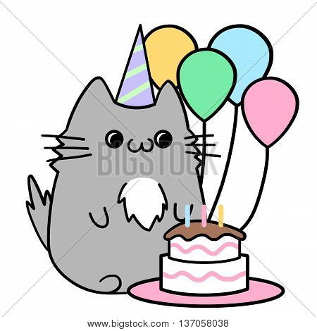 Two Lover Cats' Memories: Have a Happy Birthday. Creative Idea, Innovative art, Concept Illustration, Greeting Card, Cartoon Style Artwork