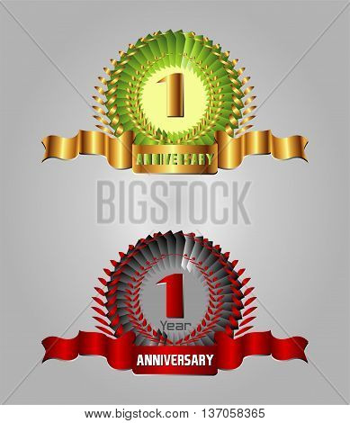 Anniversary with laurel wreath, 1 year template design vector