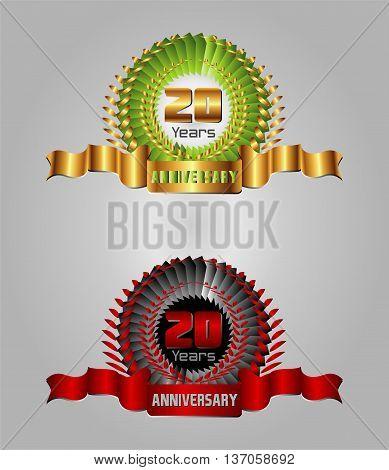 20 year anniversary golden label, 8th anniversary decorative red